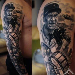 Comedy-sleeve-LouisdeFunes-art-movie-cinema-lotus-moth-tetovejums-kino-tattoofrequency-riga-marispavlo