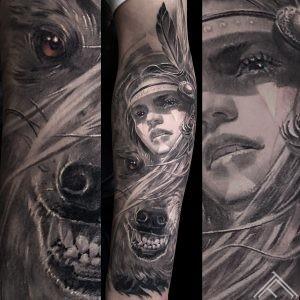 indian-woman-wolf-halfwolf-halfwoman-tattoo-healed-vilks-sieviete-tetovejums-tattoofrequency-riga-art