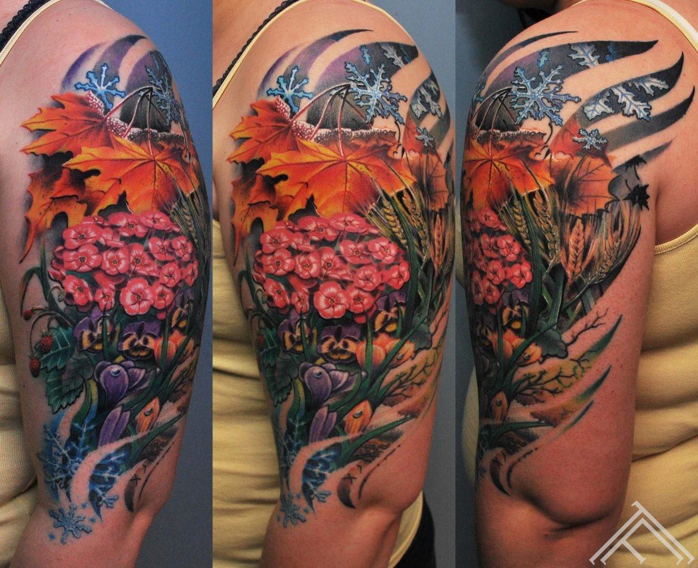 maple-leaf-phlox-snowdrops-strawberry-rye-snowflake-winter-summer-spring-autumn-tattoo-tattoofrequency-frequency-tattoostudio-riga-marispavlo