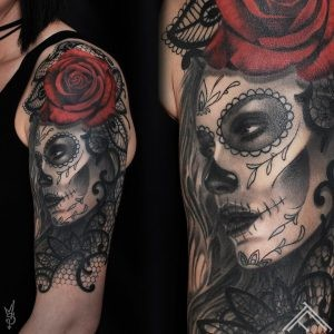 muerte-roze-lace-rose-mezgines-tattoo-portrait-tattoofrequency-riga-art