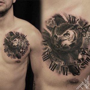 owl-clock-time-bird-puce-laiks-pulkstenis-putns-tattoo-tattoofrequency-riga-latvija-martinssilins