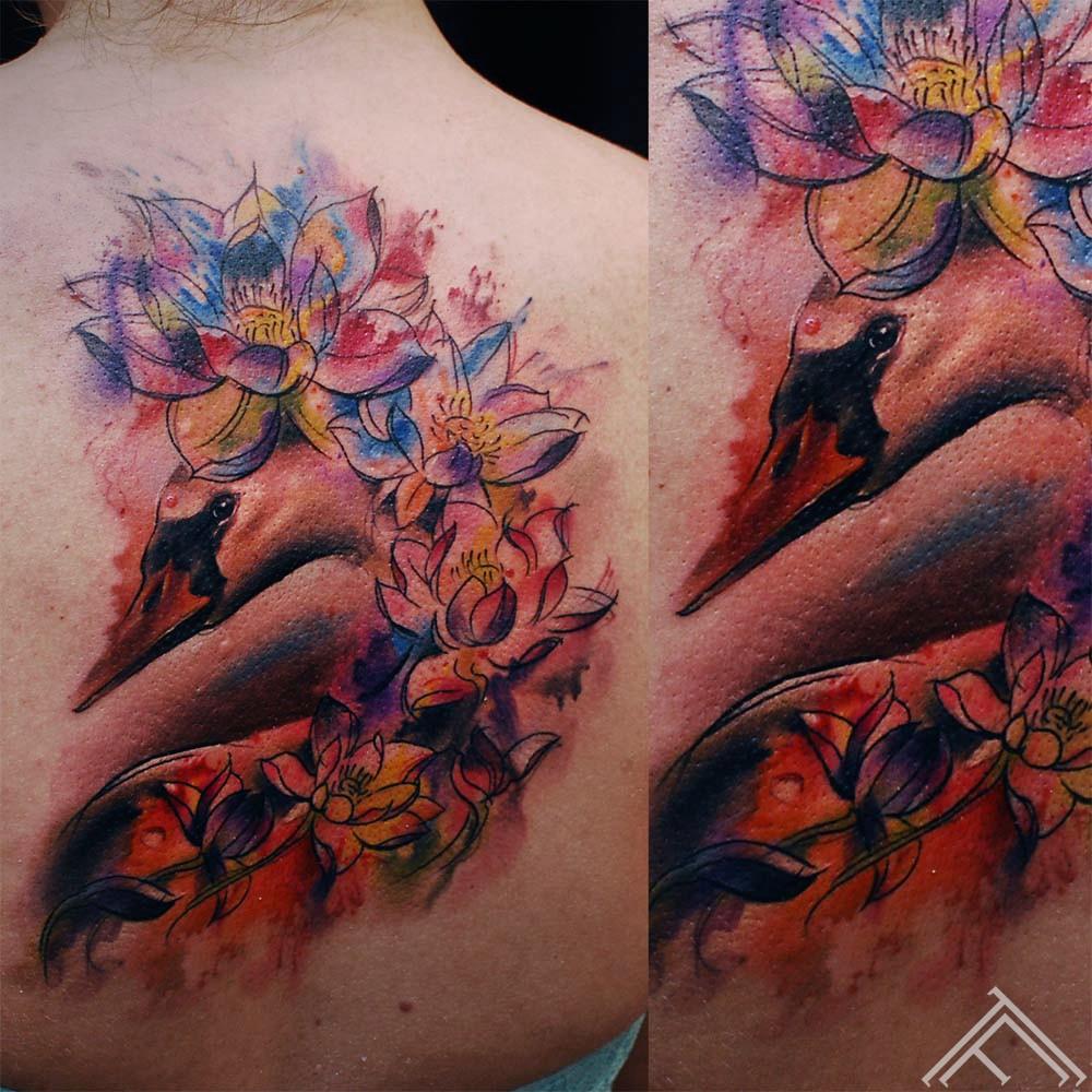 swan-bird-colorfull-watercolor-lotus-flower-tattoo-marispavlo-riga-tattoofrequency