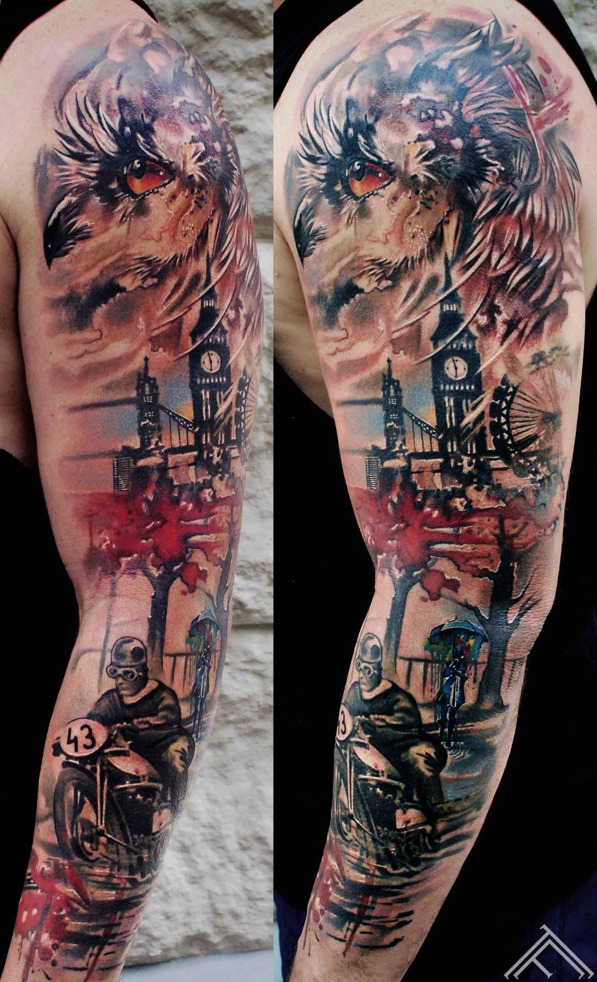 watercolour-sleeve-trashpolka-owl-bike-london-graphic-splash-tattoo-tattoofrequency-riga