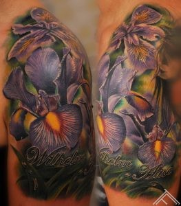 Purple_iris_flowers_water_drops_tattoo_marispavlo_art_tattoofrequency_riga_tattoostudio_saloon_tatooinriga