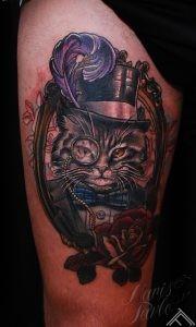 Tattoo_newtradicional_cat_monocle_feather_gentleman_marispavlo_tattoofrequency