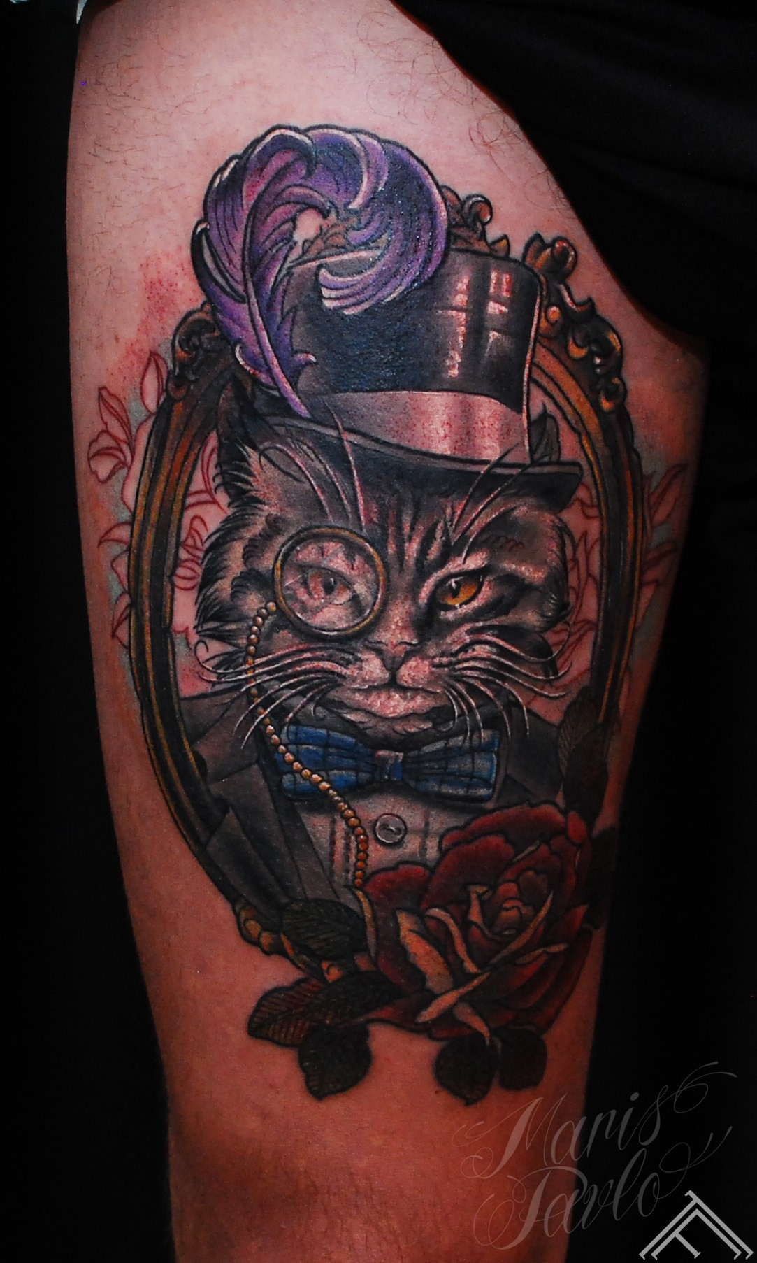 Tattoo_newtradicional_cat_monocle_feather_gentleman_marispavlo_tattoofrequency