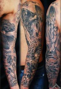 angel_snake_rose_stars_smoke_dust_tattoo_sleeve_tattoofrequency_riga