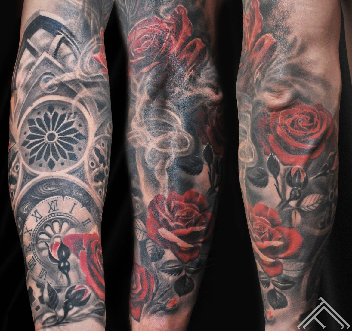 baroque-clockface-roses-tattoo-tattoofrequency-riga-art