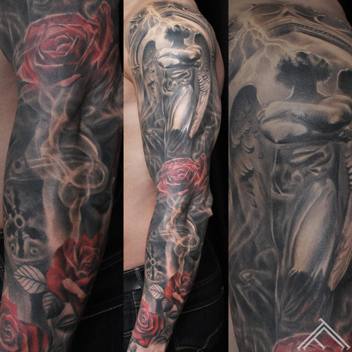 baroque-clockface-roses-tattoo-tattoofrequency-riga-art-fullsleeve