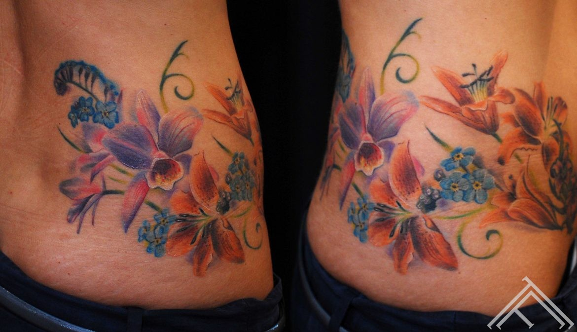 flowers_lilies_orchid_forgetmenot_tattoo_tattoofrequency_marispavlo