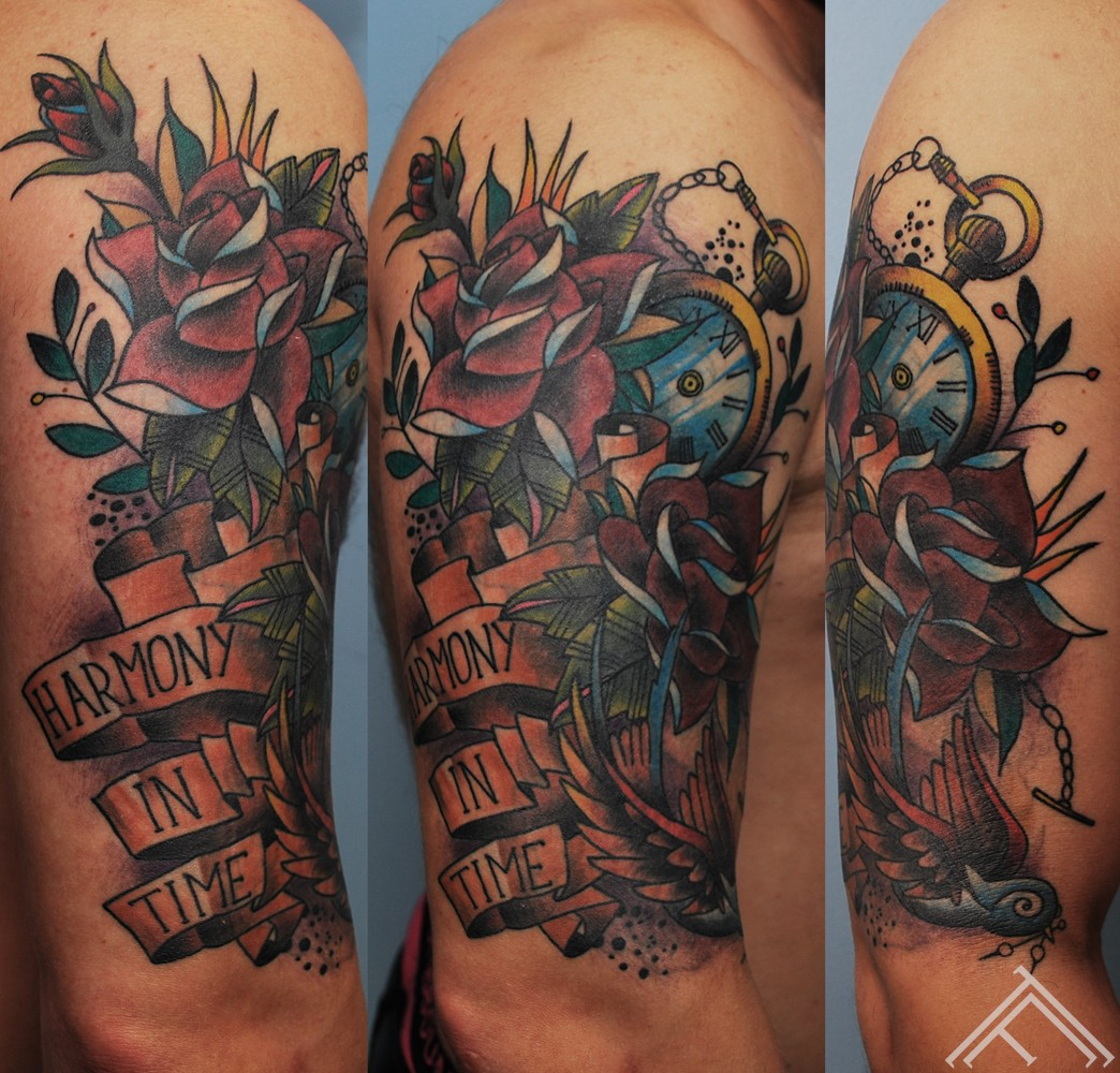 newschool_tattoo_clock_time_swallow_bird_roses_tattoofrequency_tattoostudio_saloon_riga