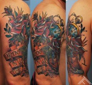 newschool_tattoo_clock_time_swallow_bird_roses_tattoofrequency_tattoostudio_saloon_riga