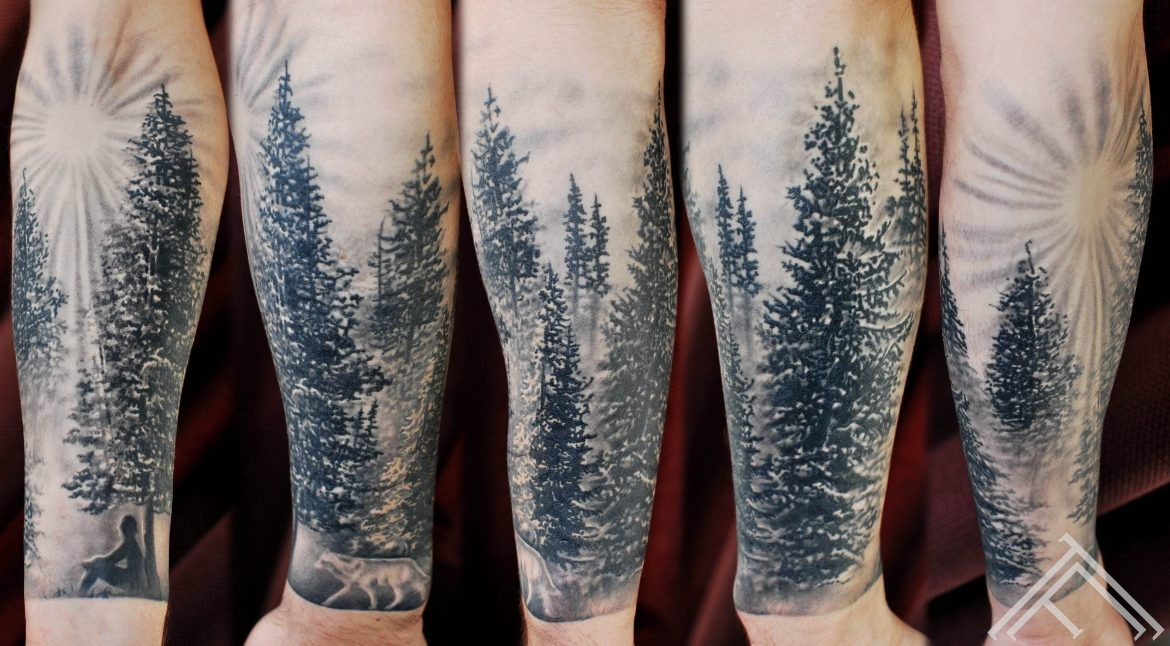 marispavlo-tattoo-pine-forest-wolf-tattoofrequency-art-riga-latvija