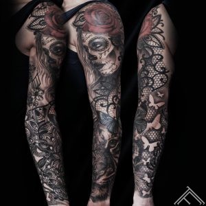 martinssilins-tattoo-tattoofrequency-riga-art-sleeve-rose-muerte-tiger-butterfly