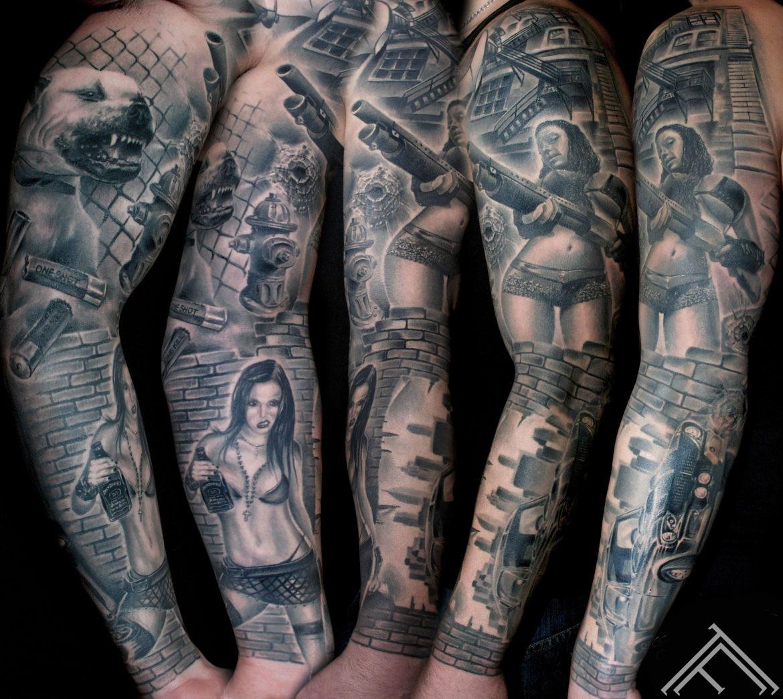 Fullsleeve-tattoo-girl-sexy-gun-car-mustang-jackdaniel-NY-newyork-pitbull-dog-bullets-oneshot-onekill-getto-marispavlo-art