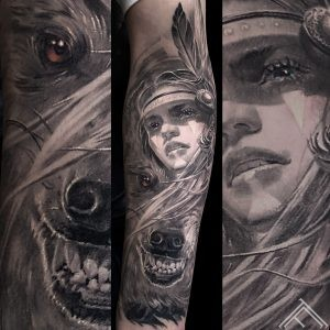 indian-woman-wolf-halfwolf-halfwoman-tattoo-healed-vilks-sieviete-tetovejums-tattoofrequency-riga-art