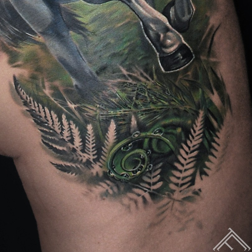 runninghorse-horse-animal-tattoo-tattoofrequency-riga-marispavlo-zirgs-forest-wood-trees-art-close up