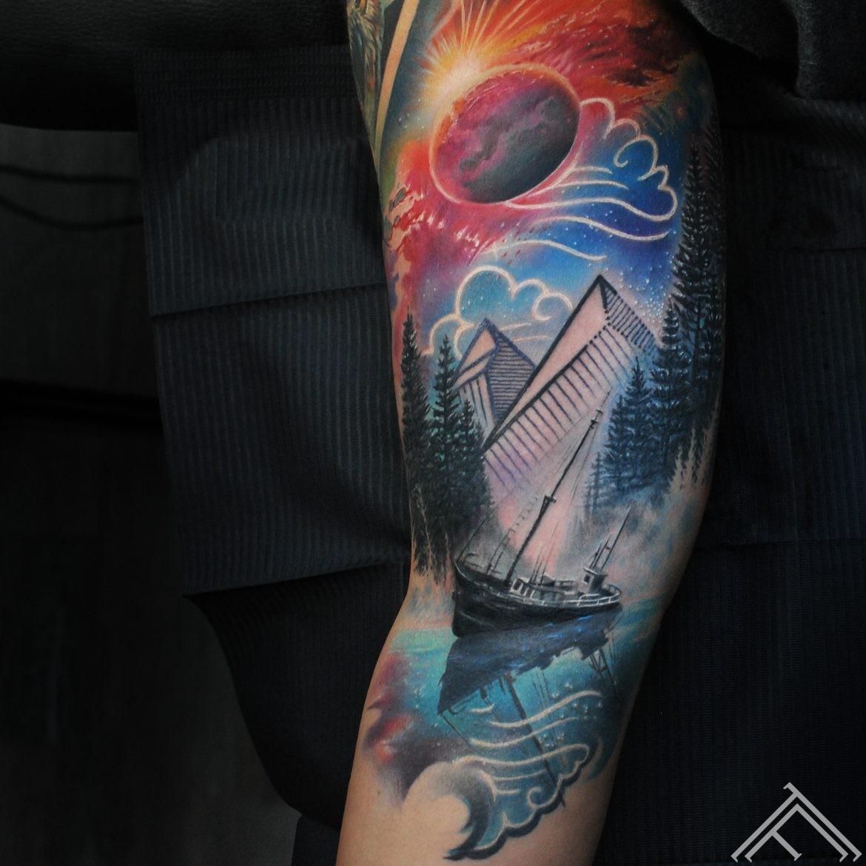 ship-moon-mountains-space-cosmoss-stars-moonlight-wood-forest-pines-graphic-geometric-drawing-art-lake-river-marispavlo