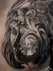 tattoofrequency-art-tattoo-marispavlo-portrait-woman-skull-rose-baroque-ornament